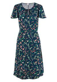 Sukienka midi z wiskozy z falbanami, długość do kolan bonprix ciemnoniebieski w kwiaty. Kolor: niebieski. Materiał: wiskoza. Wzór: kwiaty. Długość: midi
