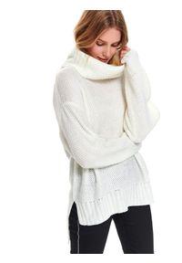 Biały sweter TOP SECRET z golfem, na wiosnę