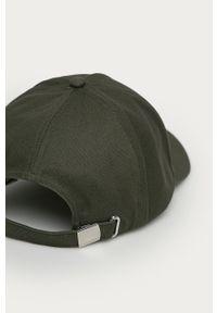 Zielona czapka z daszkiem Calvin Klein z aplikacjami
