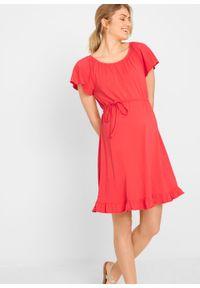 Sukienka ciążowa z bawełny organicznej bonprix koralowy. Kolekcja: moda ciążowa. Kolor: czerwony. Materiał: bawełna