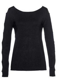 Czarny sweter bonprix z aplikacjami