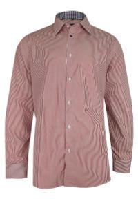 Chiao - Czerwono-Biała Elegancka Koszula Męska z Długim Rękawem, 100% Bawełna -CHIAO- Taliowana, w Paski. Okazja: do pracy, na spotkanie biznesowe. Kolor: czerwony. Materiał: bawełna. Długość rękawa: długi rękaw. Długość: długie. Wzór: paski. Styl: elegancki