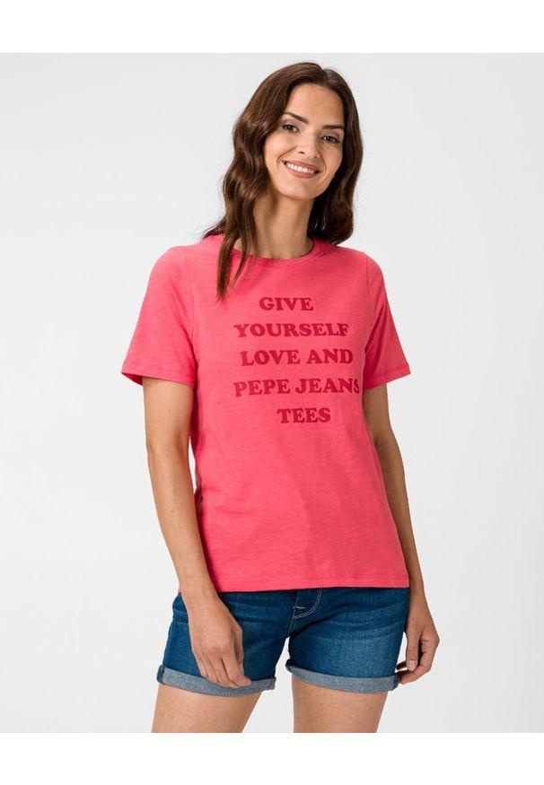 Różowy t-shirt Pepe Jeans z okrągłym kołnierzem, z nadrukiem