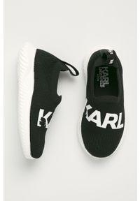 Czarne buty sportowe Karl Lagerfeld z cholewką, z okrągłym noskiem