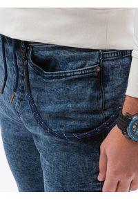 Ombre Clothing - Spodnie męskie jeansowe joggery P1056 - niebieskie - XXL. Kolor: niebieski. Materiał: jeans