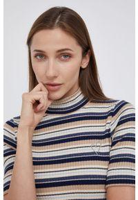 Mos Mosh - Sweter. Kolor: niebieski. Materiał: bawełna, dzianina. Długość rękawa: krótki rękaw. Długość: krótkie