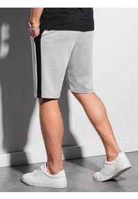 Ombre Clothing - Krótkie spodenki męskie dresowe W297 - szare - XXL. Kolor: szary. Materiał: dresówka. Długość: krótkie #3