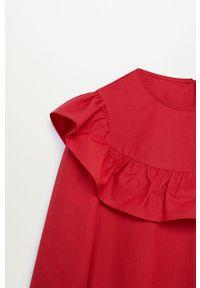 Czerwona sukienka Mango Kids mini, z okrągłym kołnierzem, rozkloszowana #3