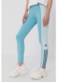 Adidas - adidas - Legginsy. Stan: podwyższony. Kolor: turkusowy. Materiał: bawełna. Wzór: aplikacja
