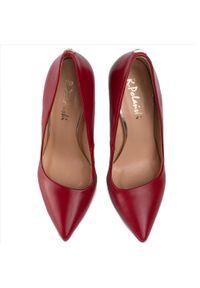 Czerwone półbuty R.Polański eleganckie, z aplikacjami, na szpilce