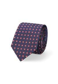 Lancerto - Krawat Granatowy w Kwiatki. Kolor: niebieski. Materiał: tkanina, jedwab, materiał. Wzór: kwiaty. Styl: klasyczny