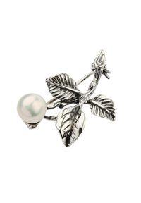Srebrna broszka w kwiaty, z perłą, srebrna