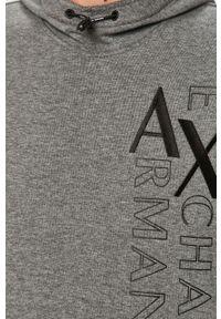 Szara bluza nierozpinana Armani Exchange na co dzień, z kapturem, z aplikacjami, casualowa