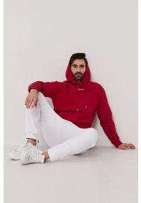 Calvin Klein Jeans - Bluza bawełniana. Okazja: na co dzień. Typ kołnierza: kaptur. Kolor: różowy. Materiał: bawełna. Styl: casual
