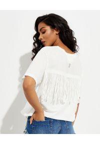 ONETEASPOON - Biała koszulka z frędzlami. Kolor: biały. Materiał: wiskoza. Wzór: nadruk
