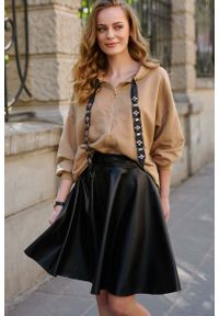 Bluzka z długim rękawem Makadamia glamour, z kapturem