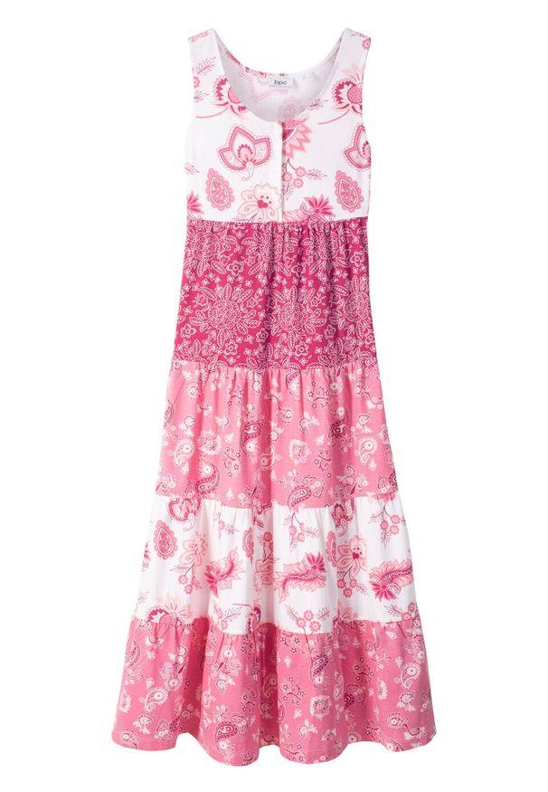 Letnia sukienka dziewczęca bonprix biel wełny - jeżynowo-czerwony. Kolor: biały. Materiał: wełna. Sezon: lato