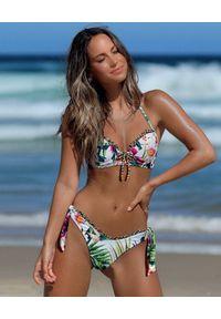 DEL MAAR - Dół od bikini w tropikalny wzór. Kolor: biały. Materiał: materiał