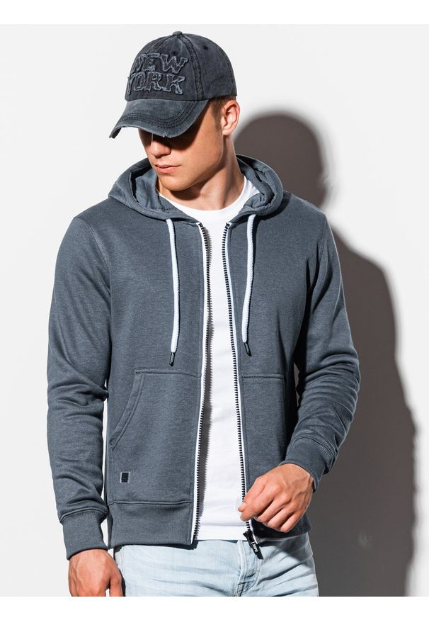 Ombre Clothing - Bluza męska rozpinana z kapturem B977 - szara - XXL. Typ kołnierza: kaptur. Kolor: szary. Materiał: poliester, bawełna. Styl: klasyczny
