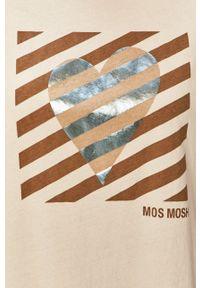 Mos Mosh - T-shirt. Kolor: beżowy. Materiał: bawełna. Wzór: nadruk