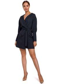 MOE - Kopertowa Sukienka z Bufiastym Rękawem we Wzory - Model 3. Materiał: poliester, elastan. Typ sukienki: kopertowe