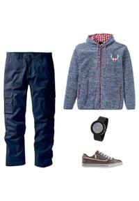Bluza rozpinana z polaru w ludowym stylu bonprix niebieski indygo melanż. Typ kołnierza: kaptur. Kolor: niebieski. Materiał: polar. Wzór: melanż
