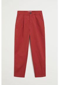 Czerwone spodnie materiałowe mango z podwyższonym stanem
