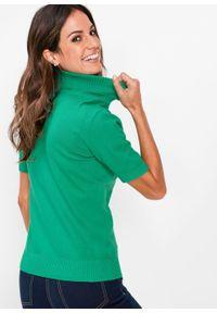 Zielony sweter bonprix z golfem, z krótkim rękawem