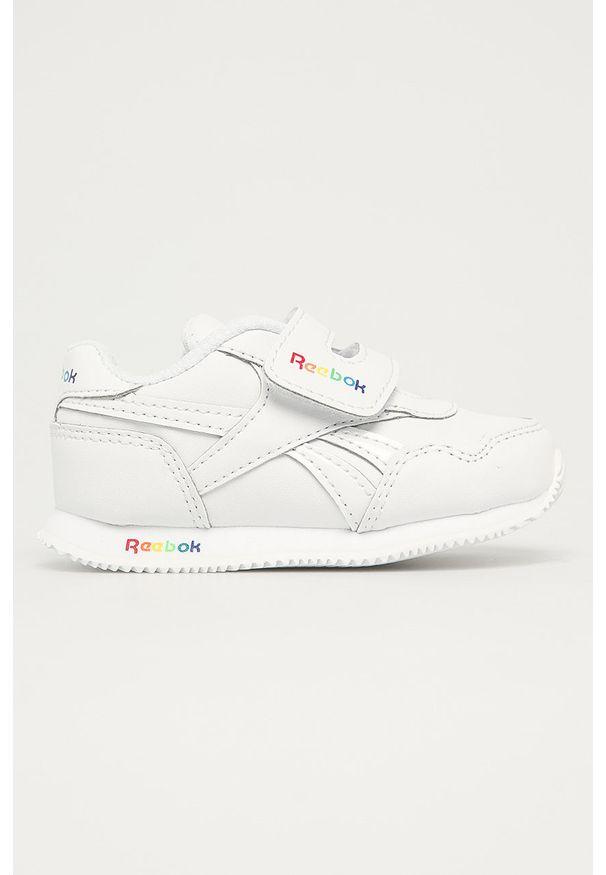 Białe buty sportowe Reebok Classic na rzepy, z okrągłym noskiem, Reebok Classic