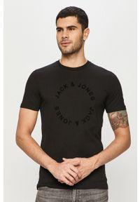 Czarny t-shirt Jack & Jones casualowy, z nadrukiem