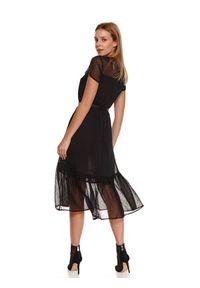 Czarna sukienka TOP SECRET koszulowa, w grochy