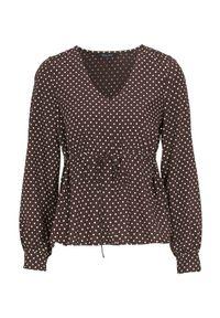 Brązowa bluzka Happy Holly w kropki, z dekoltem w serek #1
