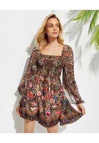 Camilla - CAMILLA - Jedwabna sukienka mini. Typ kołnierza: dekolt kwadratowy. Kolor: brązowy. Materiał: jedwab. Wzór: motyw zwierzęcy, kwiaty, aplikacja. Typ sukienki: rozkloszowane. Styl: elegancki. Długość: mini