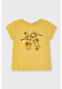 Żółta bluzka z krótkim rękawem Mayoral krótka, z aplikacjami