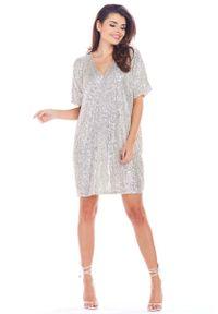 Beżowa sukienka wizytowa Awama