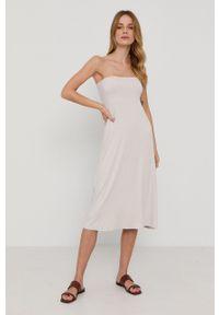 Max Mara Leisure - Sukienka VEGGIA. Kolor: beżowy. Materiał: dzianina. Typ sukienki: rozkloszowane