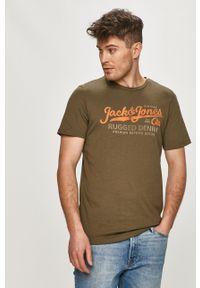 Oliwkowy t-shirt Premium by Jack&Jones z nadrukiem, na co dzień