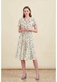 Marie Zélie - Sukienka Eulalia Anemone kremowa. Kolor: kremowy. Materiał: wiskoza. Długość rękawa: krótki rękaw. Długość: midi
