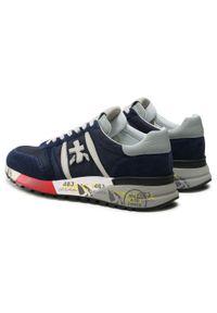 Premiata - Sneakersy PREMIATA - Lander 3756 Navy/Light Grey/White. Okazja: na co dzień. Kolor: niebieski. Materiał: zamsz, materiał, skóra ekologiczna, skóra. Szerokość cholewki: normalna. Styl: casual, sportowy