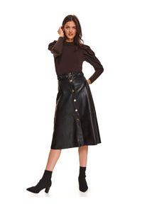 TOP SECRET - Trapezowa spódnica z eko skóry z zapięciem z przodu. Kolor: czarny. Długość: długie. Sezon: zima