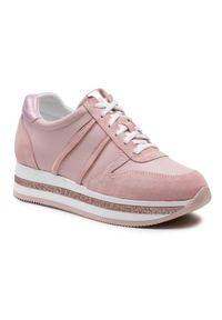 Nessi - Sneakersy NESSI - 21050 Róż. Okazja: na co dzień. Kolor: różowy. Materiał: skóra, zamsz. Sezon: lato. Obcas: na płaskiej podeszwie. Styl: elegancki, sportowy, casual