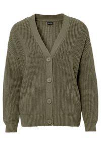Sweter rozpinany oversize bonprix oliwkowy. Kolor: zielony
