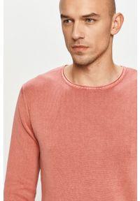 Różowy sweter Jack & Jones gładki, casualowy, na co dzień