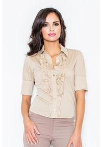 Beżowa koszula Figl z falbankami, elegancka