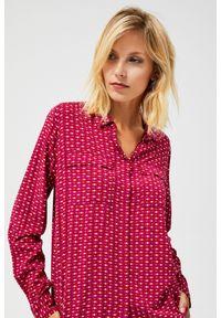 Czerwona koszula MOODO w geometryczne wzory, z długim rękawem