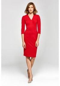 Nife - Wizytowa Dopasowana Sukienka z Dekoltem V - Czerwona. Kolor: czerwony. Materiał: wiskoza, poliester, nylon. Styl: wizytowy