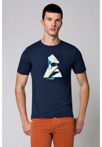 Niebieski t-shirt Lancerto z klasycznym kołnierzykiem, z nadrukiem, klasyczny