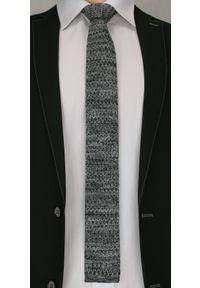 Oryginalny, Dziergany Krawat Męski Knit - 5,5 cm - Alties, Grafitowy Melanż. Kolor: szary. Materiał: poliester. Wzór: melanż. Styl: sportowy