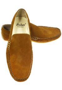 Faber - Brązowe mokasyny męskie T10. Kolor: brązowy. Materiał: skóra, guma. Styl: wizytowy, klasyczny