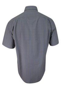 Niebieska elegancka koszula Ravanelli na spotkanie biznesowe, w kratkę, krótka
